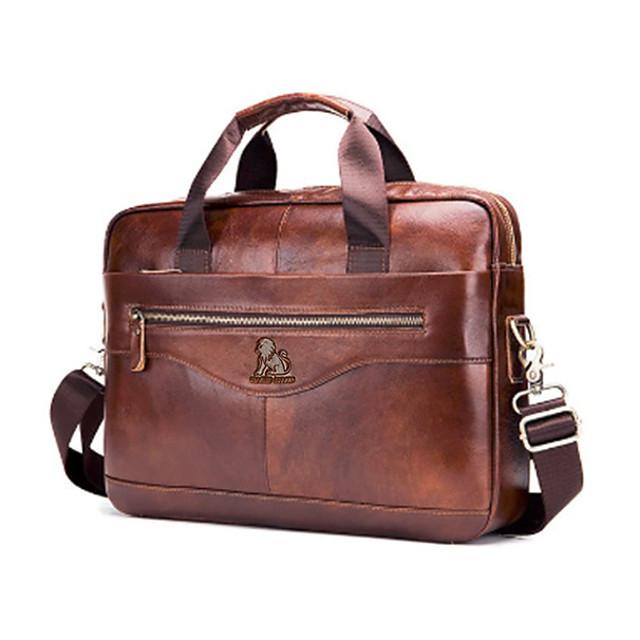 Men's Bags Cowhide 16inch Laptop Bag Briefcase Top Handle Bag Belt Zipper Solid Color Traveling Outdoor Office Business Leather Handbags MessengerBag Dark Brown Black Coffee