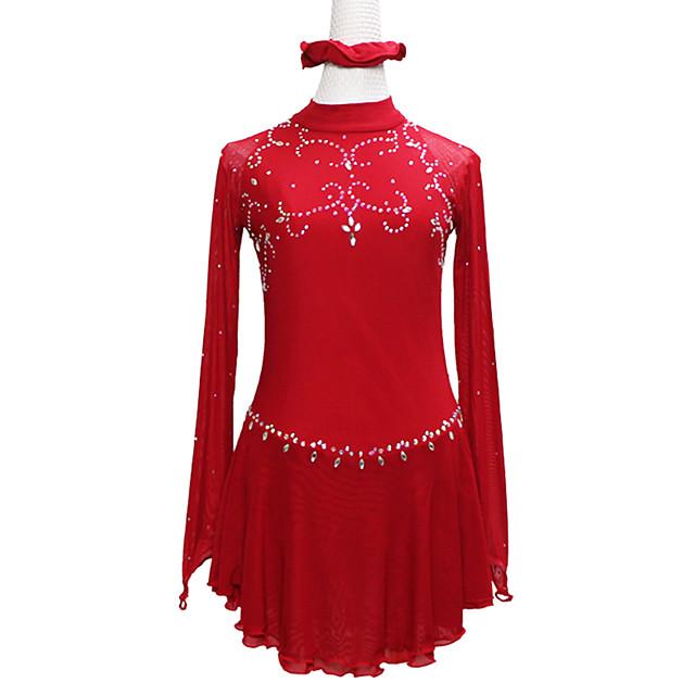 Figure Skating Dress Women's Girls' Ice Skating Dress Red Asymmetric Hem Spandex High Elasticity Training Competition Skating Wear Handmade Solid Color Patchwork Crystal / Rhinestone Long Sleeve Ice