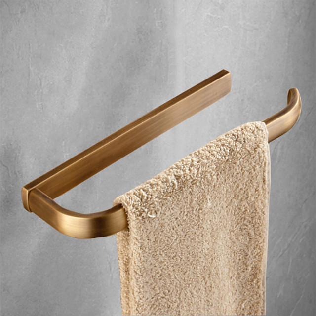 Multifunction Towel Bar Matte Brass Single Rod Contemporary Bathroom Shelf 1pc