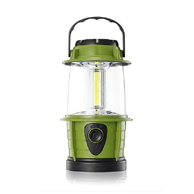 portable led camping lantern flashlight - dimmable - survival kit for emergency, power outage, hurricane, battery powered, green, 2 count