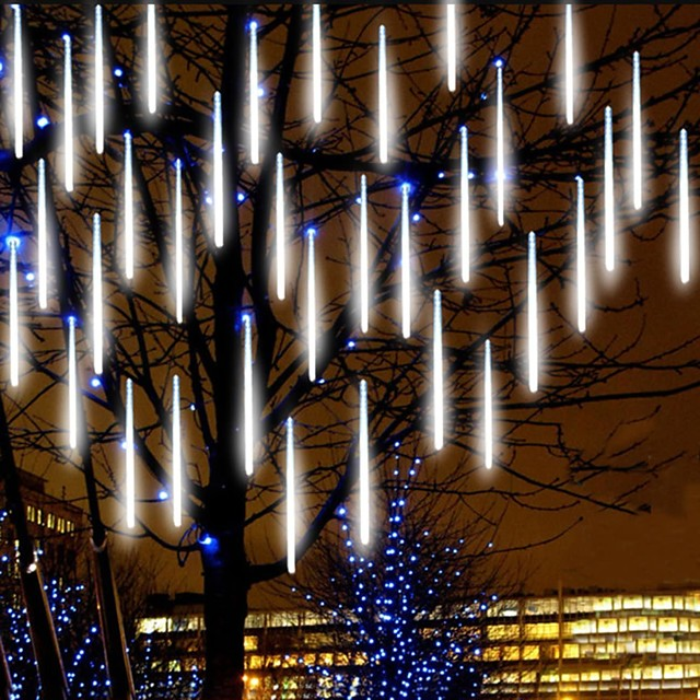 Falling Rain Lights Meteor Shower Lights Christmas Lights 30cm 8 Tube 144 LEDs Falling Rain Drop Icicle String Lights for Christmas Trees Halloween Decoration Holiday Wedding