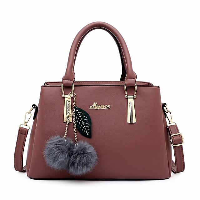 Women's Bags PU Leather Satchel Top Handle Bag Handbags Office & Career Black Blue Blushing Pink Brown