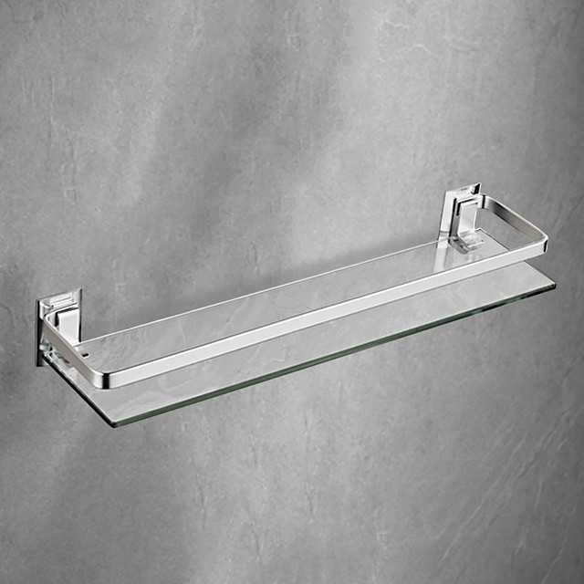 Space Aluminum Bathroom Shelf Solid Alloy with Thickened Tempered Glass Rectangular Bathroom Rack Wall-mounted