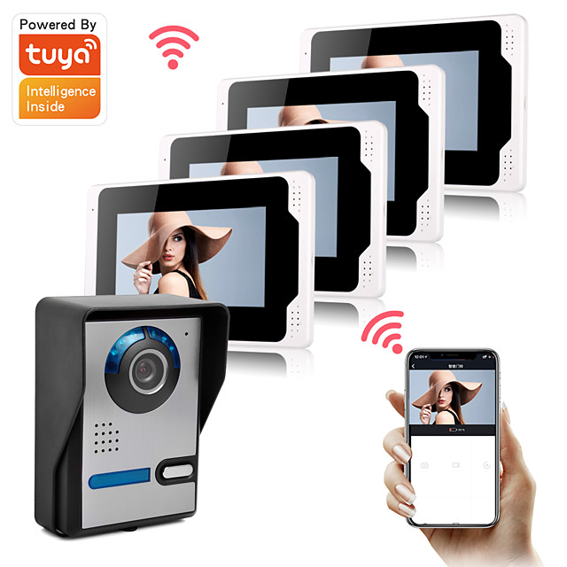Tuya Wifi Smart Video Doorbell 1080P Camera Support Remote Control Unlock Doorbell 7inch Monitor with Snapshot Recording Motion Detect Function