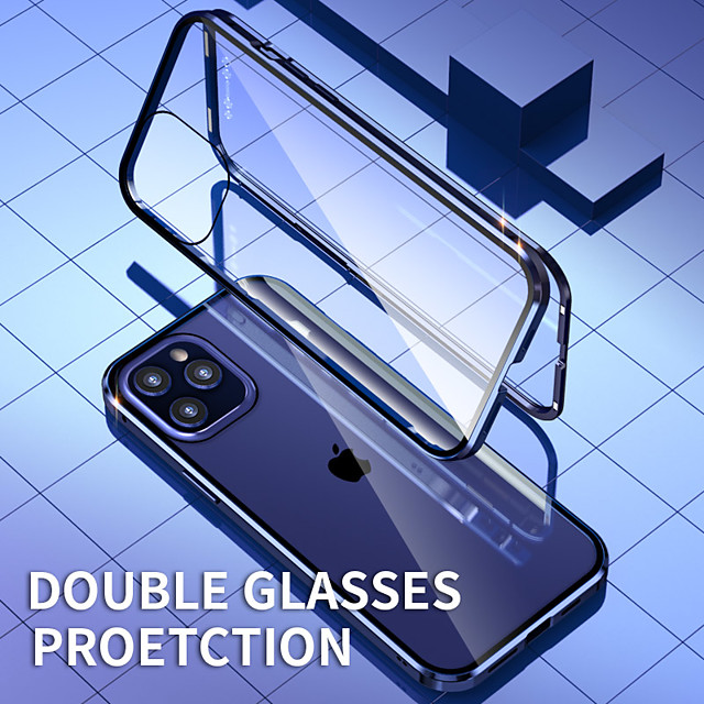 Magnetic Case For Apple iPhone 12 / iPhone 12 Mini / iPhone 12 Pro Max Shockproof / Transparent Full Body Cases Transparent Metal