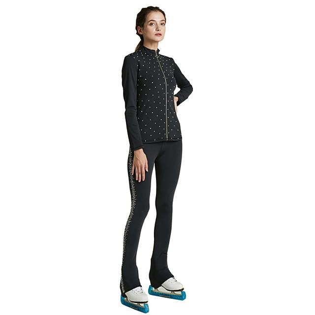 Figure Skating Jacket with Pants All Ice Skating Jacket Pants / Trousers Black Spandex Stretchy Training Skating Wear Thermal Warm Handmade Solid Colored Crystal / Rhinestone Long Sleeve Ice Skating