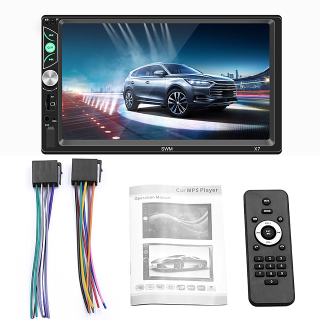 12V 7-inch 2 Din  Car MP5 Player Phone X7 Reverse Image Wireless Card Video Phone Interconnect Steering wheel controls Car Radio 7#