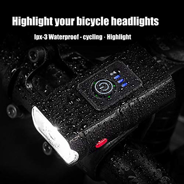 kinghard usb charging outdoor multi-function riding light red light bicycle headlight, waterproof light, easy to mount fits mountain road bike kids men cycling commuter (black)