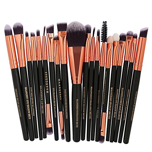 20 pcs makeup brush set tools make-up toiletry kit wool make up brush set (multicolor e)