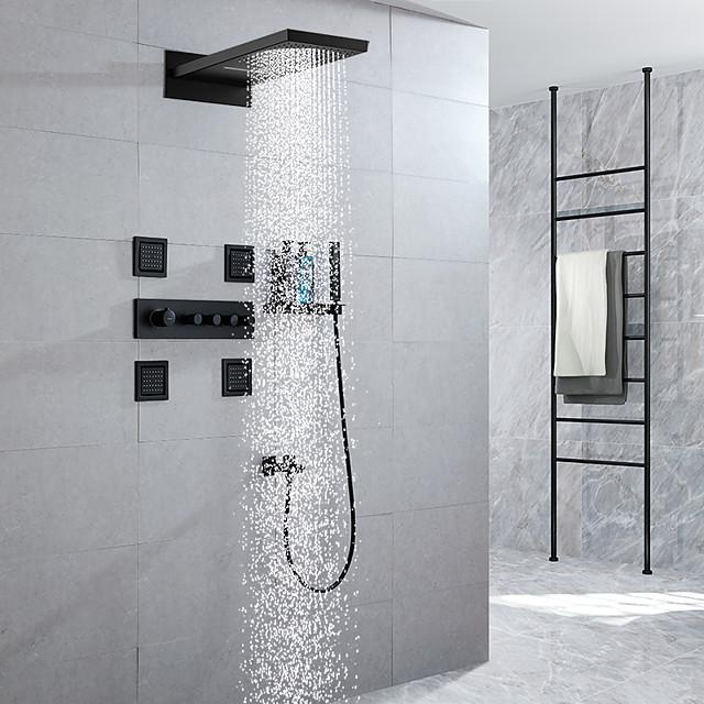 Shower Faucet / Rainfall Shower Head System / 4 Body Jet Massage Sets - Handshower Included Fixed Mount Rainfall Shower Contemporary Electroplated Mount Inside Ceramic Valve Bath Shower Mixer Taps
