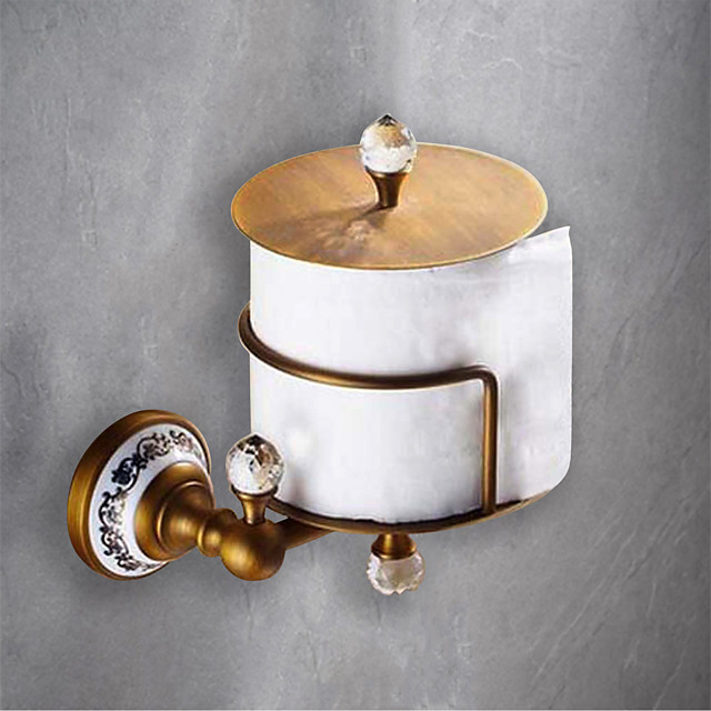 Toilet Paper Holders Removable Antique Ceramic/Crystal Roll Paper Holder Matte Brass 1PC