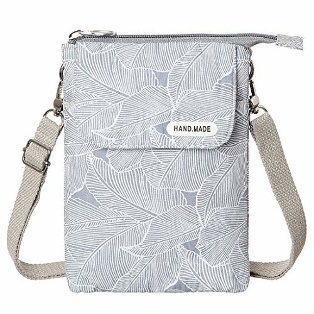 leaf pattern canvas cell phone purse wallet lightweight small crossbody purse bags for women girls