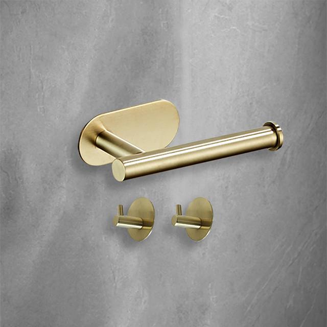 3 kom. Kupaonskog hardverskog seta 3 m ljepila za viskoznost, kupaonski pribor, zidni nosač, kuka za ručnike, držač maramice od nehrđajućeg čelika visoke čvrstoće mat crno brušeno zlato