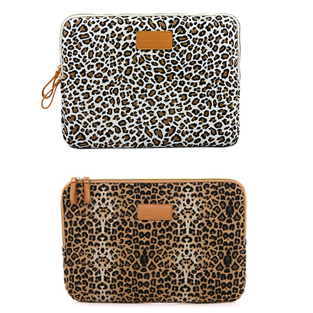 11.6 Inch Laptop / 12 Inch Laptop / 13.3 Inch Laptop Sleeve / Tablet Cases Canvas Leopard / Cheetah Print for Men for Women for Business Office Waterpoof Shock Proof