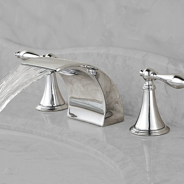 Bathroom Sink Faucet,Waterfall Chrome Widespread Two Handles Three Holes Bath Taps with Hot and Cold Switch and Ceramic Valve