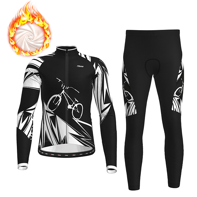 21Grams Men's Long Sleeve Cycling Jersey with Tights Winter Fleece Polyester Black Bike Clothing Suit Fleece Lining Breathable 3D Pad Warm Quick Dry Sports Graphic Mountain Bike MTB Road Bike Cycling