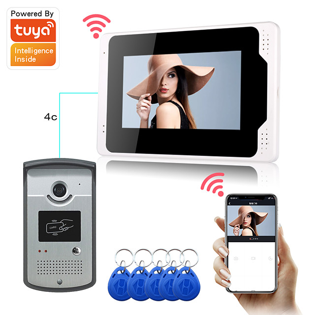 WIFI / Wired Recording 7 inch Hands-free Montor Video Doorphone with Tuya APP 1080P HD Camera Motion Detect Support RFID Unlock