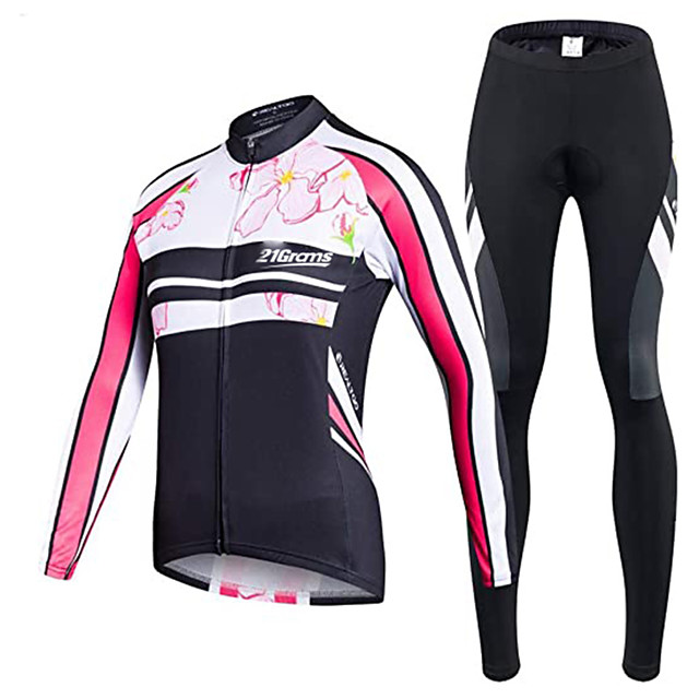 21Grams Men's Long Sleeve Cycling Jersey with Tights Winter Fleece Polyester Black Bike Clothing Suit Thermal Warm Fleece Lining Breathable 3D Pad Quick Dry Sports Graphic Mountain Bike MTB Road Bike