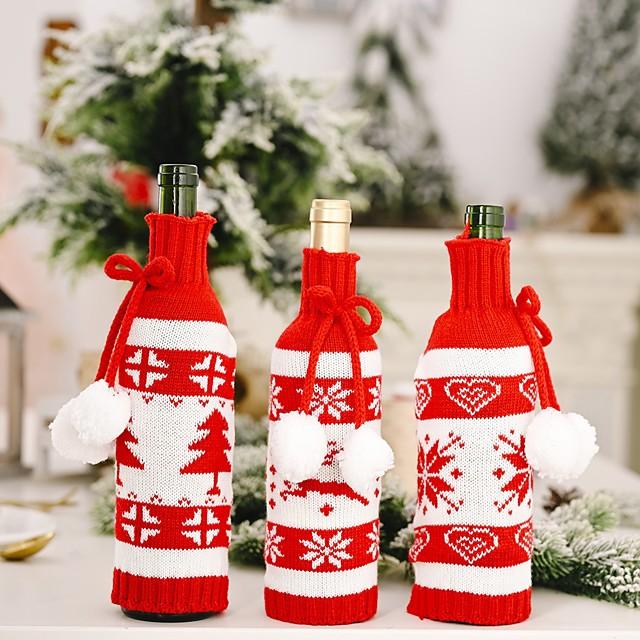 Christmas Decor Creative Ornament Scarf Hat Suit Red Wine Bottle x 1Pc