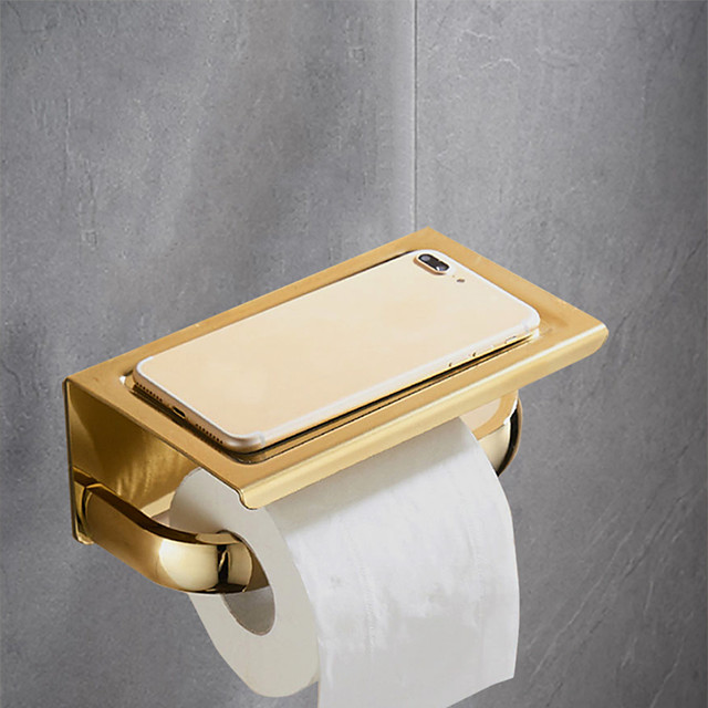 Toilet Paper Holder with Phone Shelf Polished,  304 Stainless Steel Bathroom Accessories Tissue Roll Dispenser Storage Wall Mounted