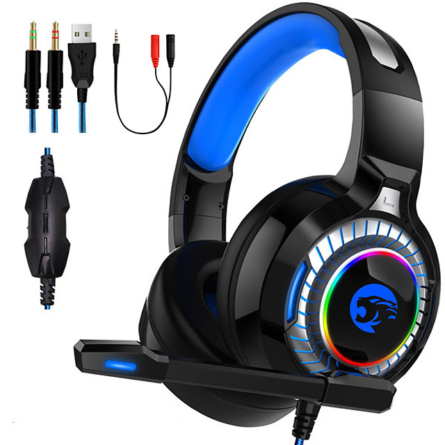 A66 Gaming Headset USB 3.5mm Headphone 3.5mm Microphone with Microphone with Volume Control Sweatproof InLine Control for Gaming
