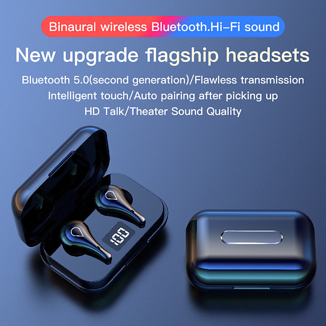 LITBest H2 TWS Bluetooth Earphones Wireless Headphones Bluetooth 5.0 Sports Earbuds Headset Microphone LED Display 9D Stereo