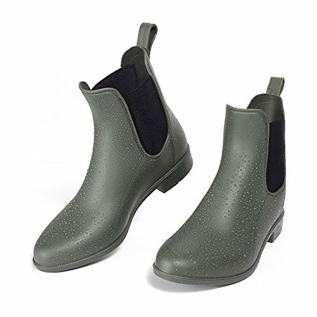 women& #39;s ankle rain boots waterproof non-slip short rain booties chelsea boots(matte green)