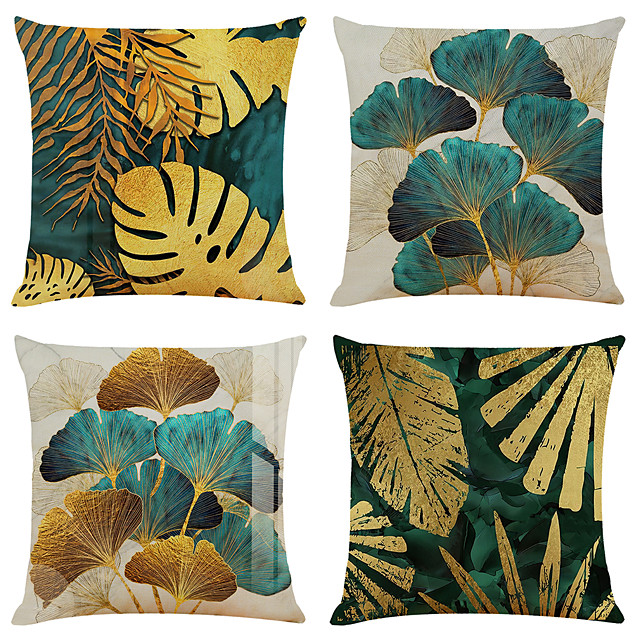 Set of 4 Throw Pillow Cases Open Branches and Loose Leaves Linen Square Decorative Throw Pillow Cases Sofa Cushion Covers 18x18
