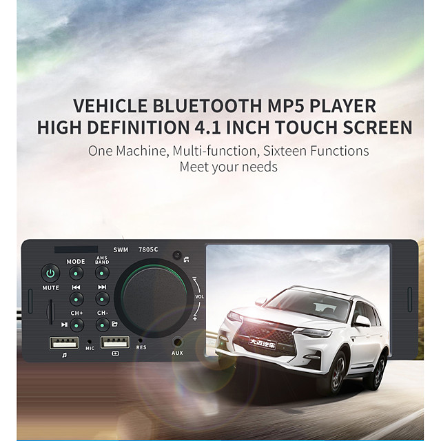 1 Din 7805C 4.1 Inch Touch Screen Audio Video MP5 Player TF USB ISO Remote Multicolor Lighting Head Unit 12V
