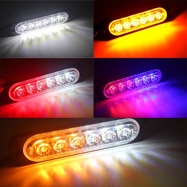 4pcs 6LED 12V-24V 18W Car Truck Emergency Warning Light Hazard Flash Strobe Light Blue Red White Yellow Amber