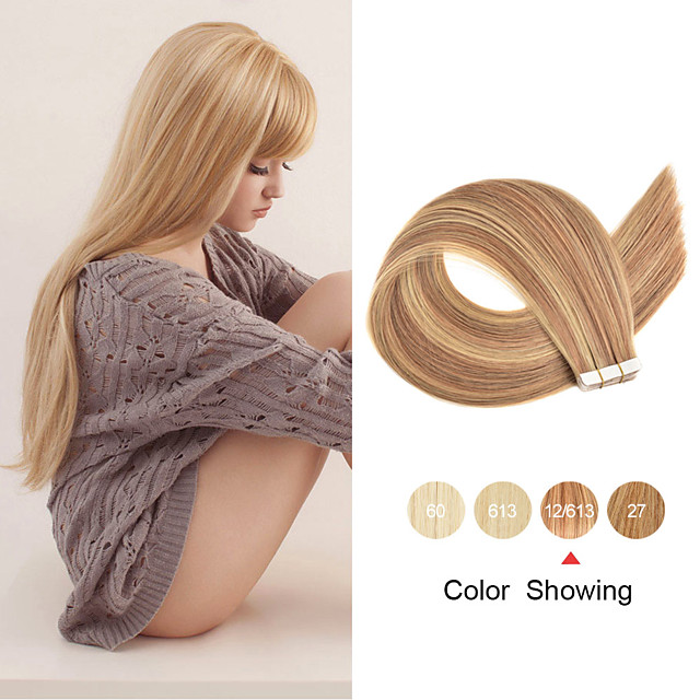 Tape In Human Hair Extensions 20pcs 12'' 14'' 16'' 18'' 20'' 22'' 24'' Straight PU Skin Weft Remy Tape Human Hair Ombre Color