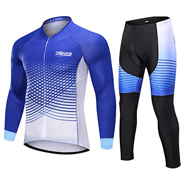 21Grams Men's Long Sleeve Cycling Jersey with Tights Winter Fleece Polyester Blue Bike Clothing Suit Thermal Warm Fleece Lining Breathable 3D Pad Quick Dry Sports Graphic Mountain Bike MTB Road Bike