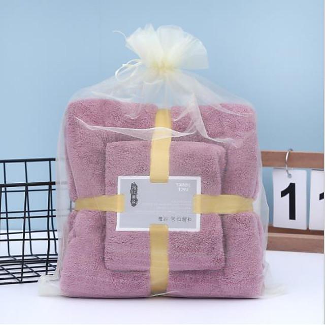 LITB Basic Bathroom Soft Absorbent Bath Towel & Hand Towel Comfortable Coral Fleece Solid Colored Daily Home Bath Towels 2 pcs in 1 Set 70*140 & 35*75cm