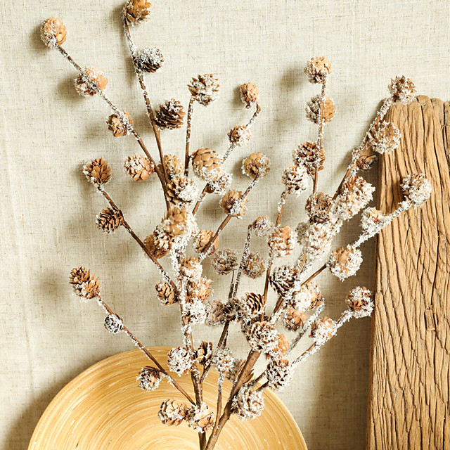Artificial Plants Pine Ball Branch Natural Dried Plants Christmas Decorations Home Wedding Party Accessories