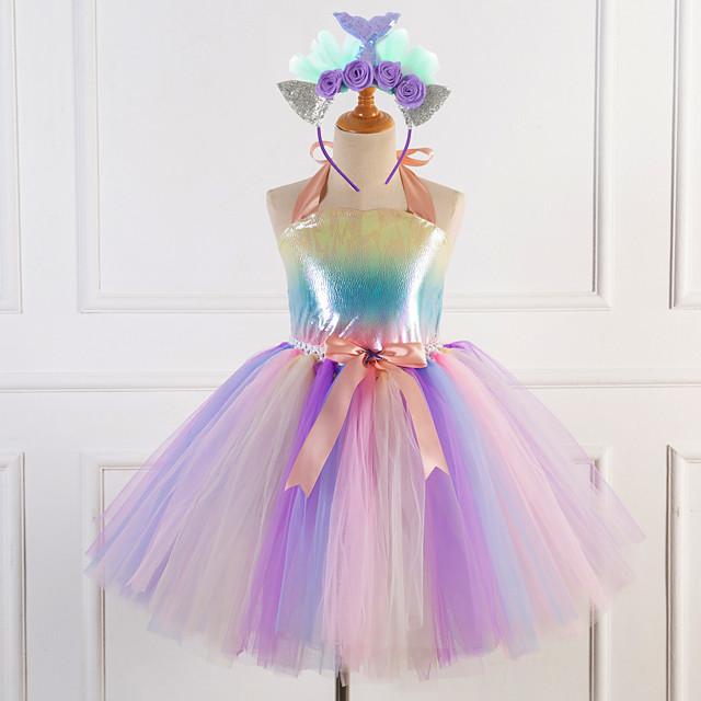 Princess Masquerade Costume Girls' Movie Cosplay Tutus Plaited Purple / Pink Dress Headwear Christmas Halloween Carnival Polyester / Cotton Polyester