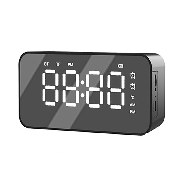 Portable Wireless Bluetooth 5.0 Speaker Stereo Music Sound Box Alarm Clock for TF Aux Card Music Player