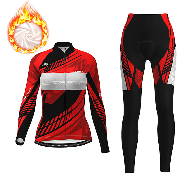 21Grams Women's Long Sleeve Cycling Jersey with Tights Winter Fleece Polyester Red Fuchsia Blue Bike Clothing Suit Fleece Lining Breathable 3D Pad Warm Quick Dry Sports Graphic Mountain Bike MTB Road