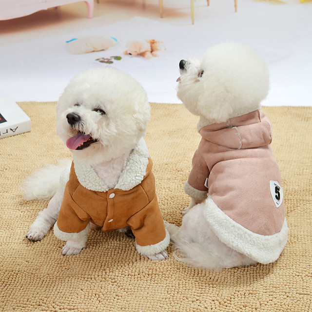 Dog Coat Fruit Cute Casual / Daily Winter Dog Clothes Puppy Clothes Dog Outfits Breathable Pink Coffee Costume for Girl and Boy Dog Lamb Fur XS S M L XL XXL