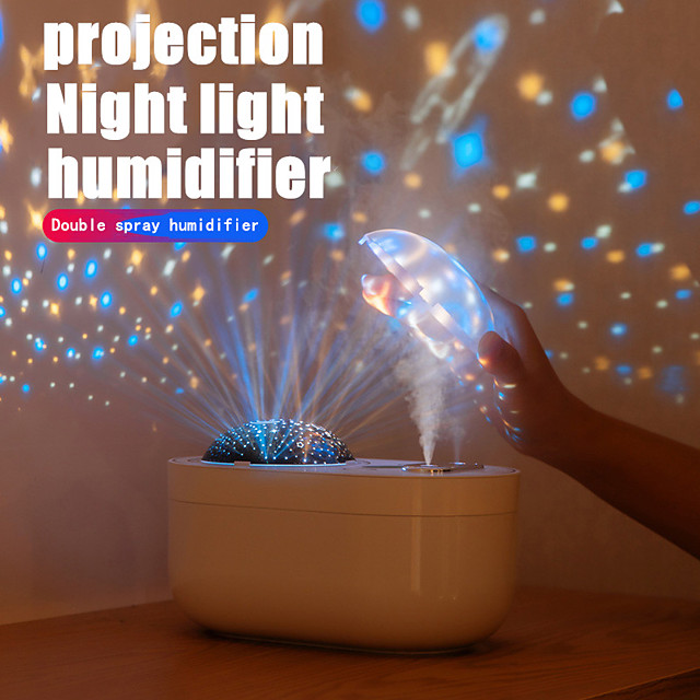 The double spray projection humidifier with built-in battery creative desktop projection lamp spray moisturizing humidifier