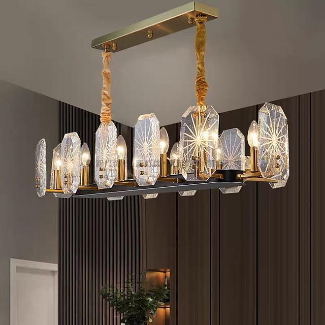 100 cm 12 Heads Crystal Chandelier Modern Island Light Pendant Light Warm White+White+Neutral Light 110-120V 220-240V