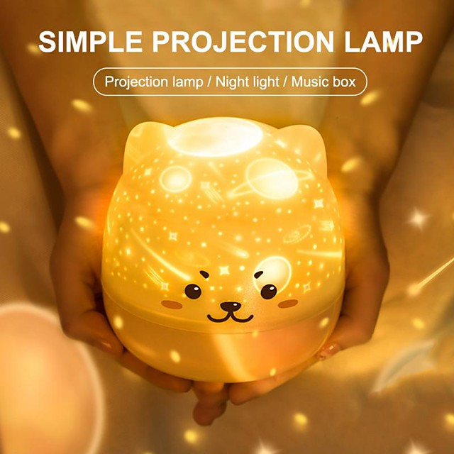 Night Light Starry Sky Projection Lamp 360 Degree Rotating Music Night Light Colorful Romantic Flashing Night Lamp Baby Kid Gift-Can Be Used Wirelessly After Charging