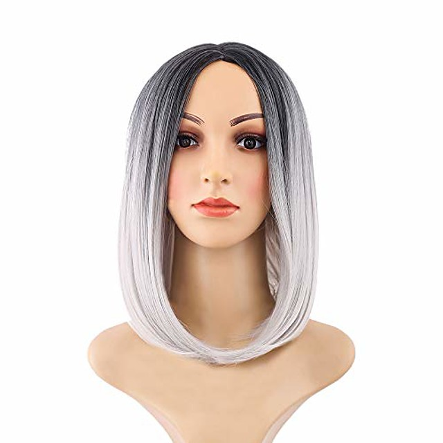 black pink ombre hair straight bob wigs synthetic hair short party hair wig, heat resistant synthetic wig womens wigs charming natural cosplay party, the most suitable gift