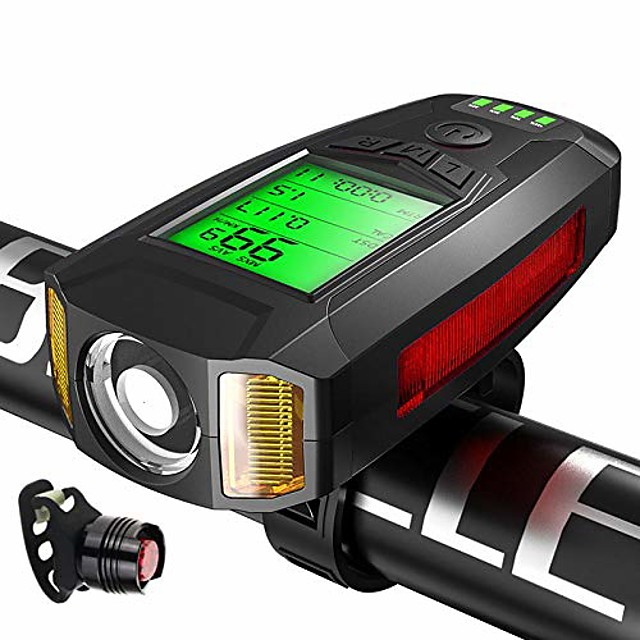 the new bicycle code dial with horn headlights bike headlights wireless code dial with lights. code meter black plus gem tail light.