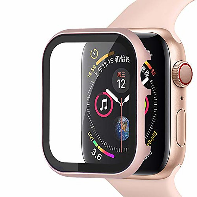 compatible with apple watch case 38mm 40mm 42mm 44mm, metal bumper protective cover aluminum alloy frame screen protector tempered film compatible iwatch series 5/4/3/2