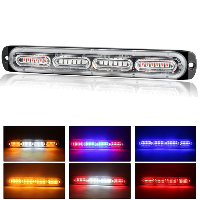 2pcs Strobe Light 24 LED Truck Strobe Lights Emergency Flashing Warning Beacon Amber Side lights For Trailer Motorcycle / Car Light Bulbs 72 W 24 LED
