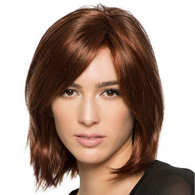 Synthetic Wig Straight Natural Straight Asymmetrical Wig Medium Length Dark Brown Synthetic Hair Women's Fashionable Design Classic Exquisite Dark Brown