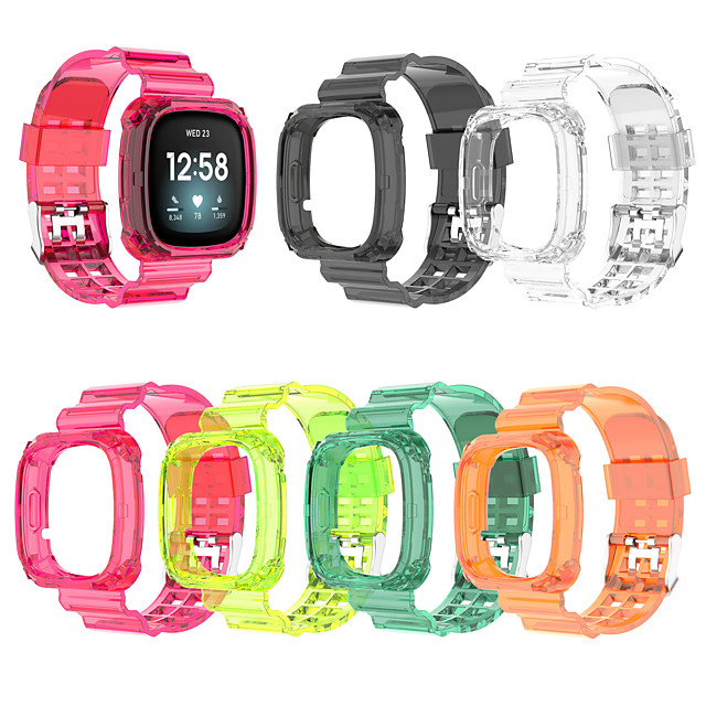 Silicone Clear Case Strap for Fitbit Versa 3 / Fitbit Sense Watch Band Bracelet and Protective Cover for Fitbit Versa3 / Sense