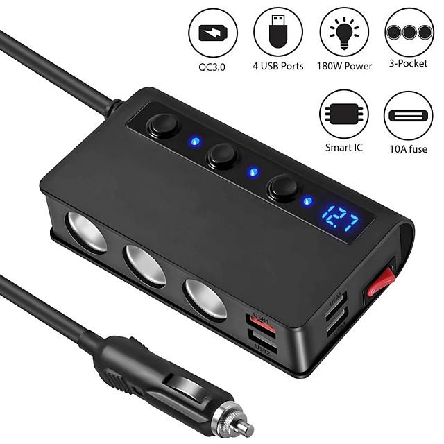 Car 1 drag 3 Plug Multifunctional Car Charger 4 port USB 12V-24V Socket Splitter Plug LED Voltage display with Independent power switch
