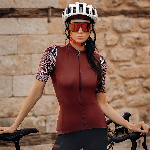 SANTIC Women's Short Sleeve Cycling Jersey Polyester Burgundy Solid Color Bike Jersey Top Mountain Bike MTB Road Bike Cycling Breathable Quick Dry Reflective Strips Sports Clothing Apparel / Athletic