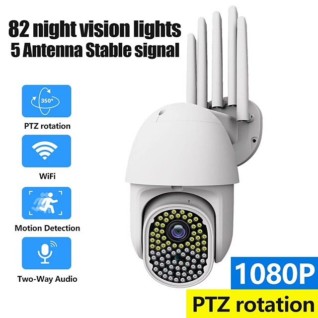 NEW 82 Leds WiFi camera 1080p 3.6mm 2.0MP Ultra Definition Waterproof Zoom Bidirectional Audio Motion Detection Alarm Outdoor